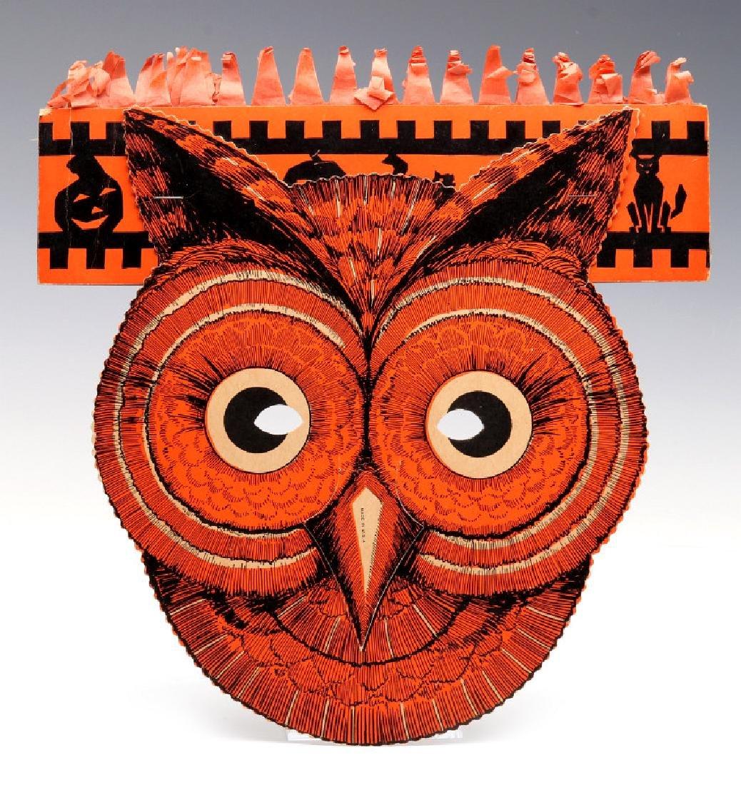 A VINTAGE HALLOWEEN DIE-CUT OWL MASK