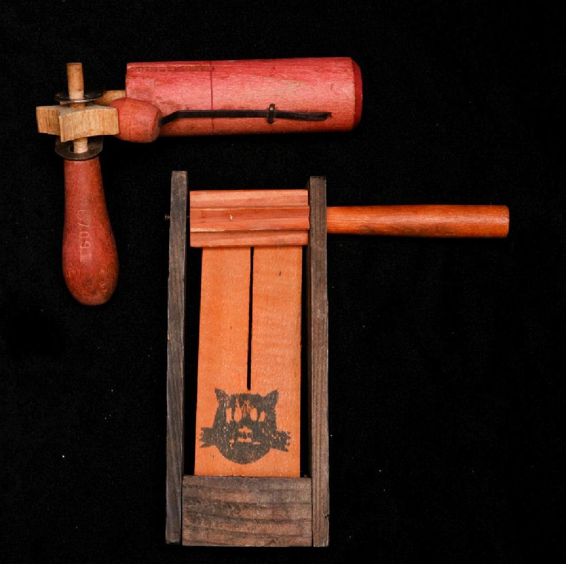 TWO VINTAGE WOODEN RATCHET NOISE MAKERS