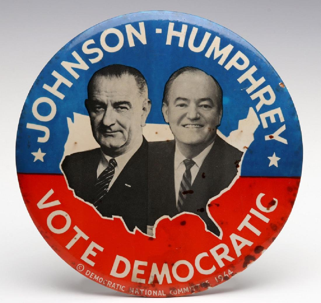A JOHNSON HUMPHREY NINE INCH 1964 CAMPAIGN BUTTON
