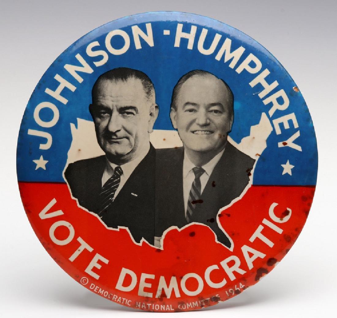 A JOHNSON HUMPHREY NINE INCH 1964 CAMPAIGN BUTTON