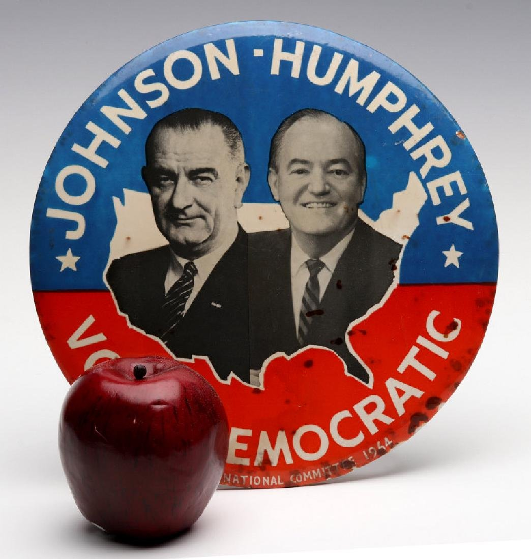 A JOHNSON HUMPHREY NINE INCH 1964 CAMPAIGN BUTTON - 2