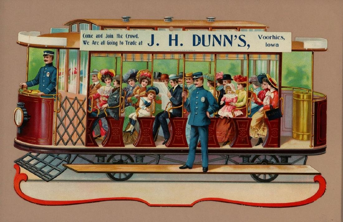 A DIE-CUT VICTORIAN ADVERTISING STREET CAR PLACARD