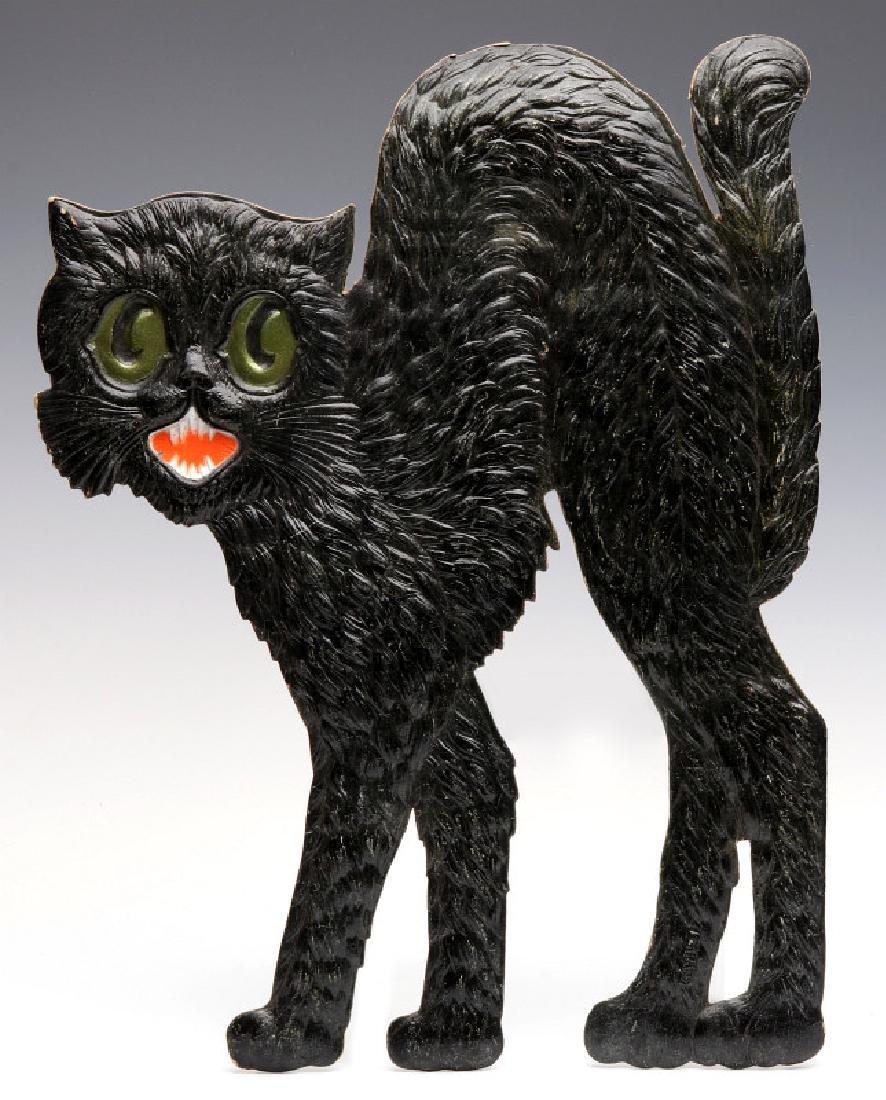 A VINTAGE GERMAN DIE-CUT EMBOSSED BLACK CAT