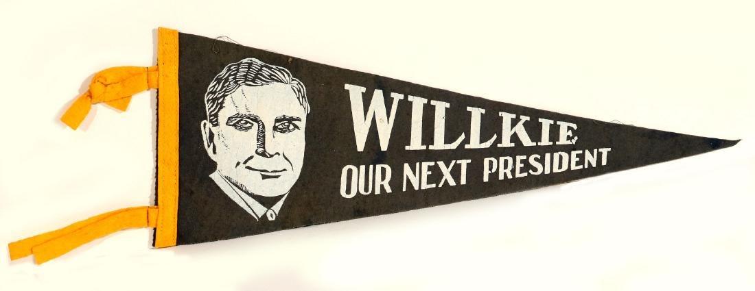 WILKIE FOR PRESIDENT PAINTED FELT BANNER