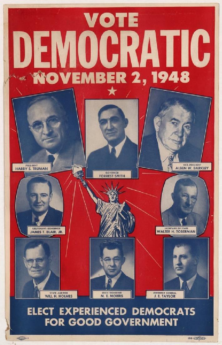 ORIGINAL 1948 DEMOCRATIC ELECTION POLITICAL POSTER