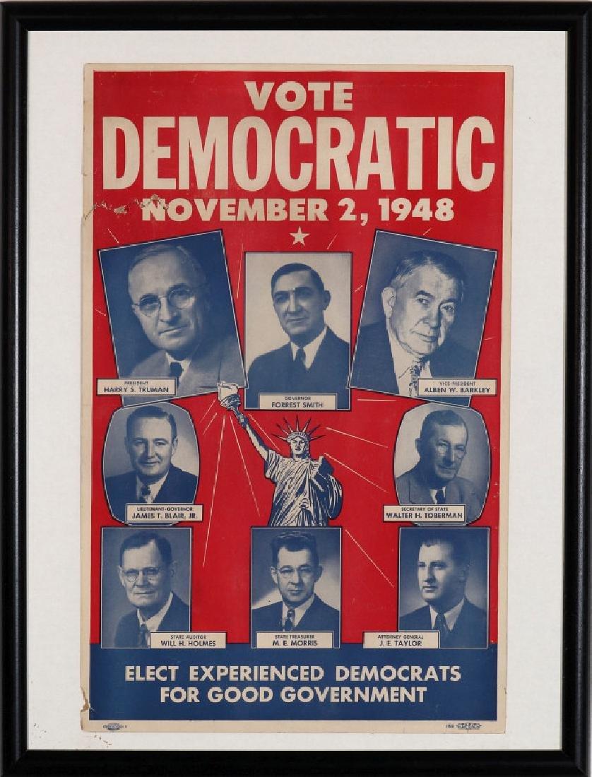 ORIGINAL 1948 DEMOCRATIC ELECTION POLITICAL POSTER - 2
