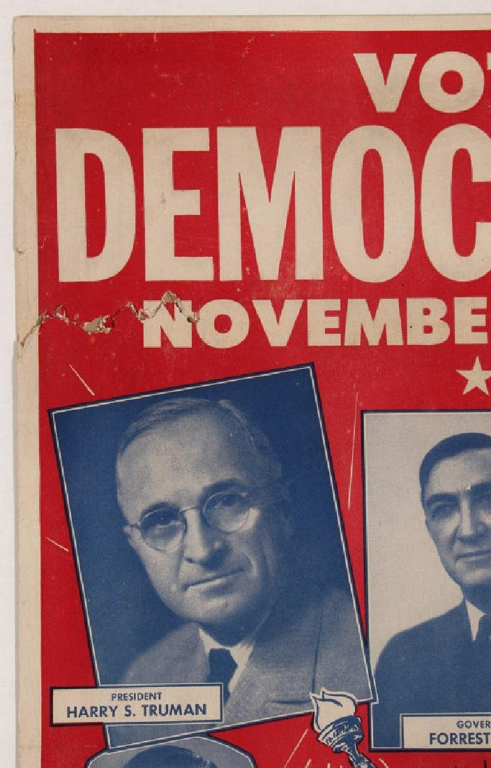 ORIGINAL 1948 DEMOCRATIC ELECTION POLITICAL POSTER - 3