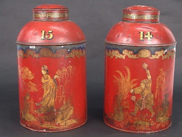 113: GREAT PAIR OF RED TOLE ANTIQUE TEA CANNISTERS BY P