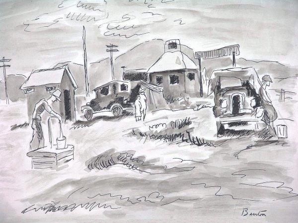 499:  BENTON (1889-1975) ORIG  WATERCOLOR, CIRCA 1931