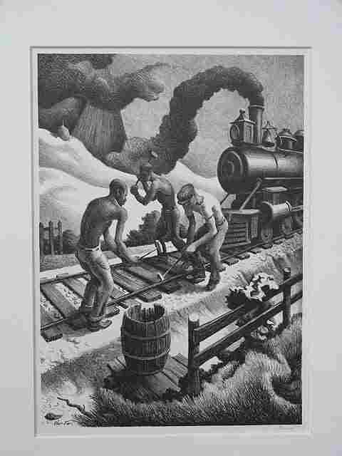 500: PENCIL SIGNED LITHOGRAPH BY THOMAS HART BENTON