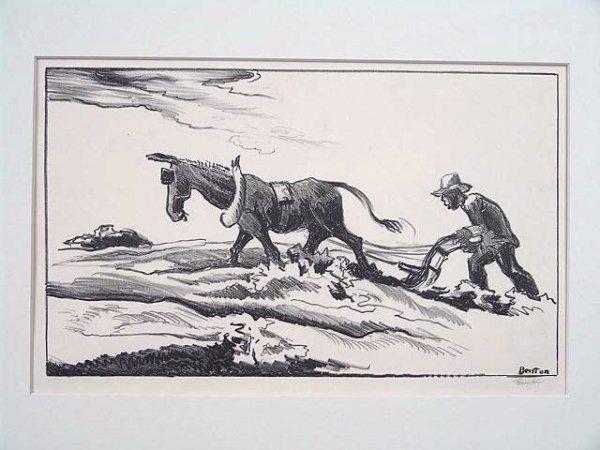 501: PENCIL SIGNED LITHOGRAPH BY THOMAS HART BENTON