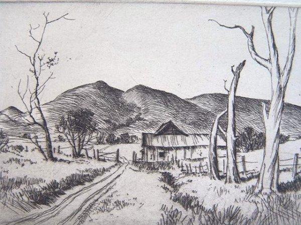 519: PENCIL SIGNED ETCHING BY KANSAS ARTIST LLOYD FOLTZ