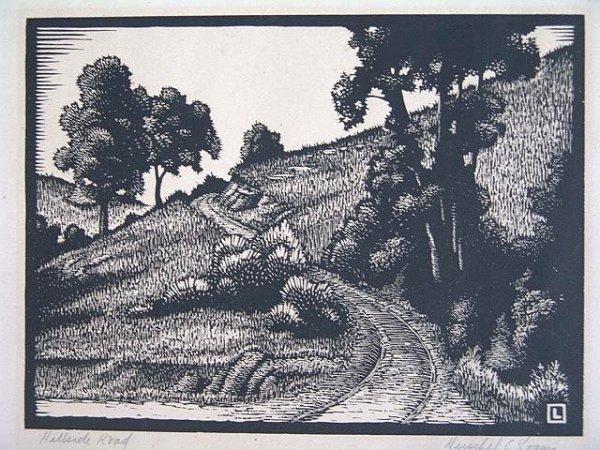 520: PENCIL SIGNED WOOD CUT BY HERSCHEL LOGAN (1901-
