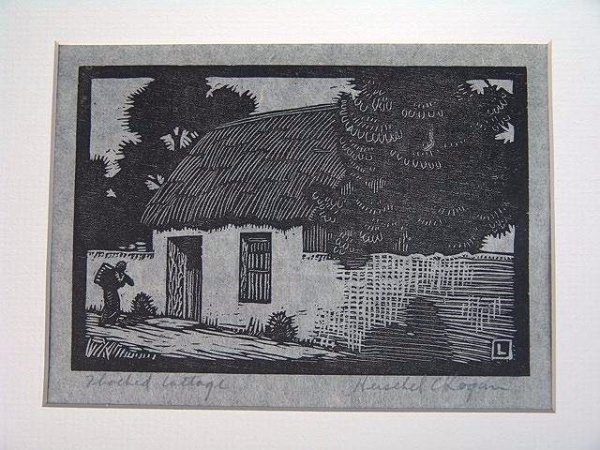 521: PENCIL SIGNED WOOD CUT BY HERSCHEL LOGAN (1901-