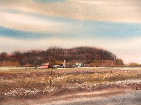 684: WATERCOLOR ON PAPER BY KANSAS ARTIST J. R. HAMIL