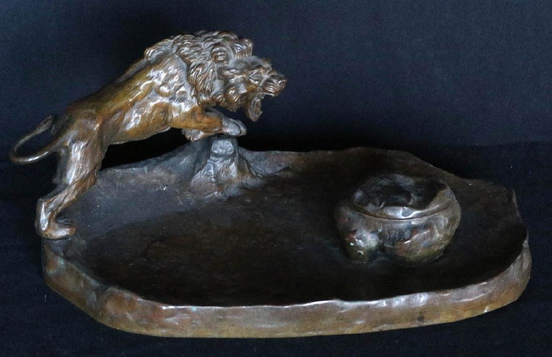 A CIRCA 1900 AUSTRIAN(?) BRONZE INKWELL WITH LION