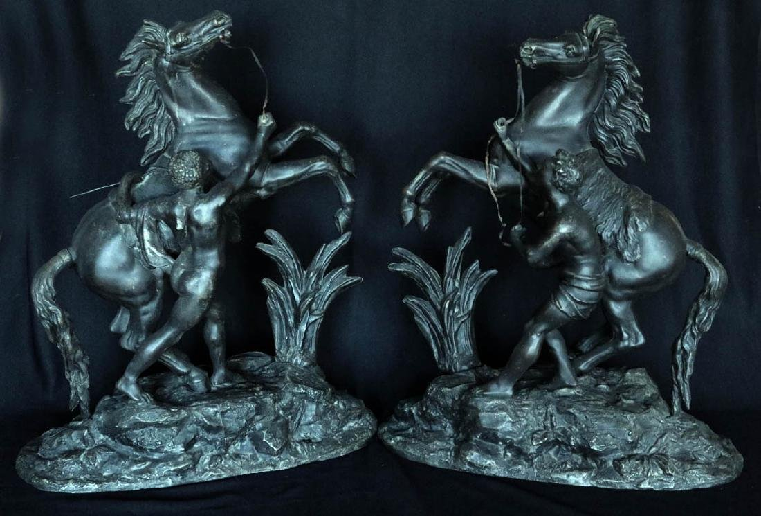 A PAIR SPELTER MARLEY HORSE FIGURES AFTER COUSTOU