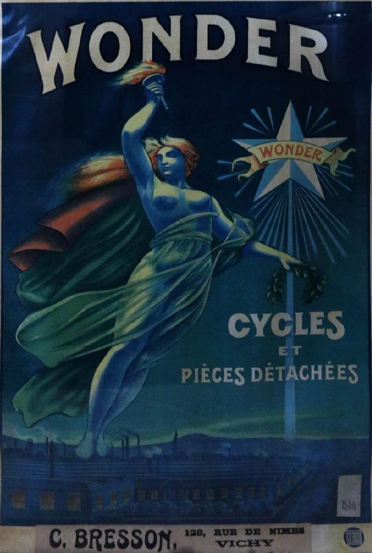 ORIGINAL FRENCH BICYCLE POSTER FOR WONDER CYCLES