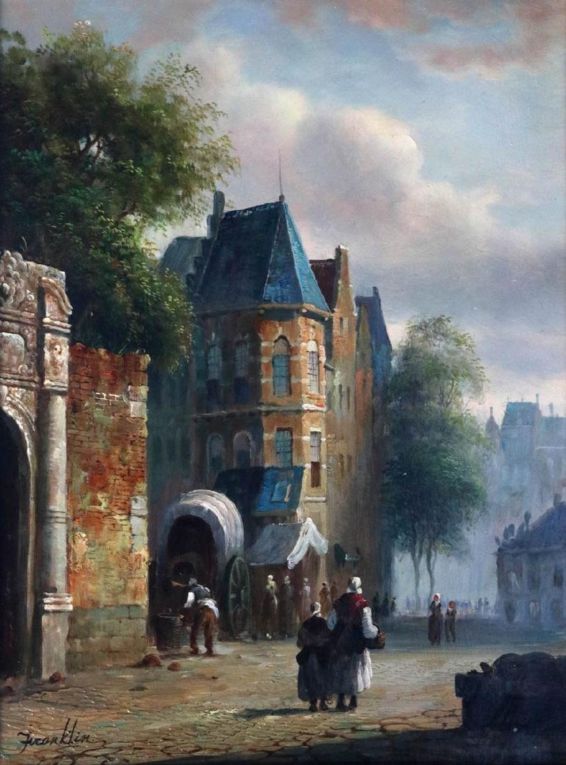 A EUROPEAN STREET SCENE OIL SIGNED FRANKLIN