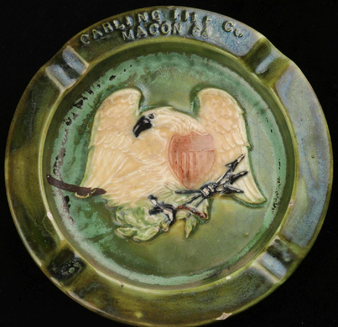 A GLAZED TERRA COTTA TRAY SIGNED CARLING TILE CO