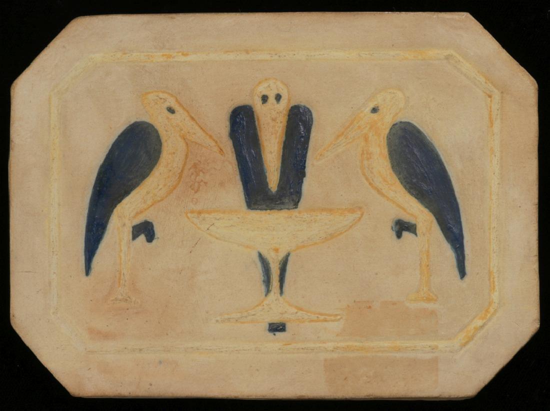 A CARVED AND GLAZED ART TILE SIGNED SNYDER 1930