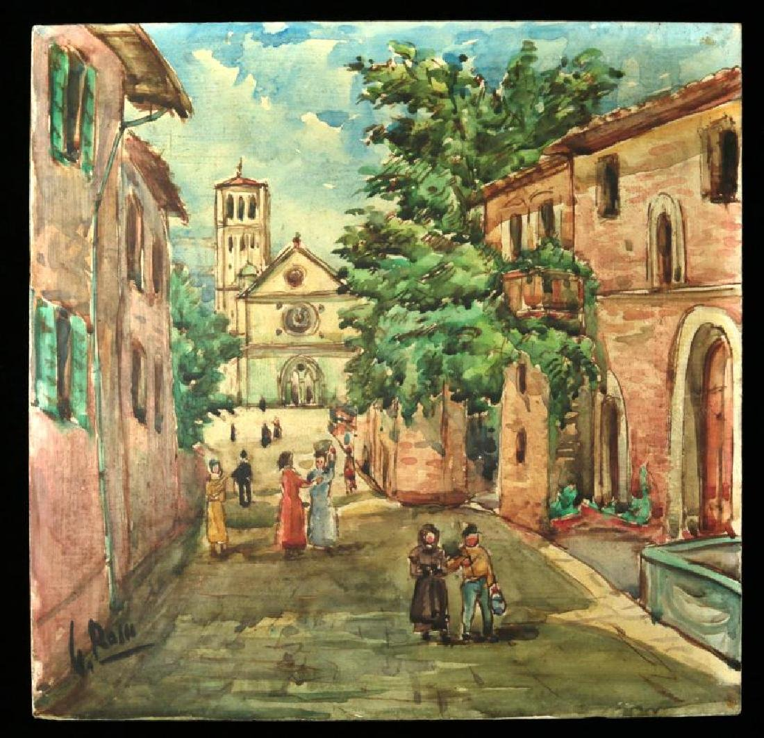 AN EARLY 20TH CENTURY ARTIST SIGNED PAINTED TILE