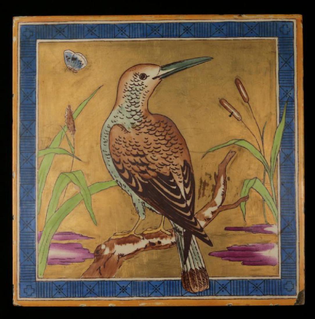 A UNUSUAL CIRCA 1890 MINTON TILE WITH BIRD