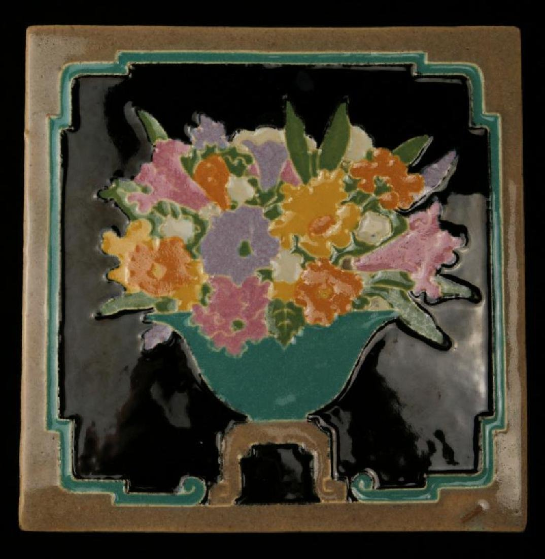 A GOOD C. 1930s ART POTTERY TILE SIGNED CLAYCRAFT