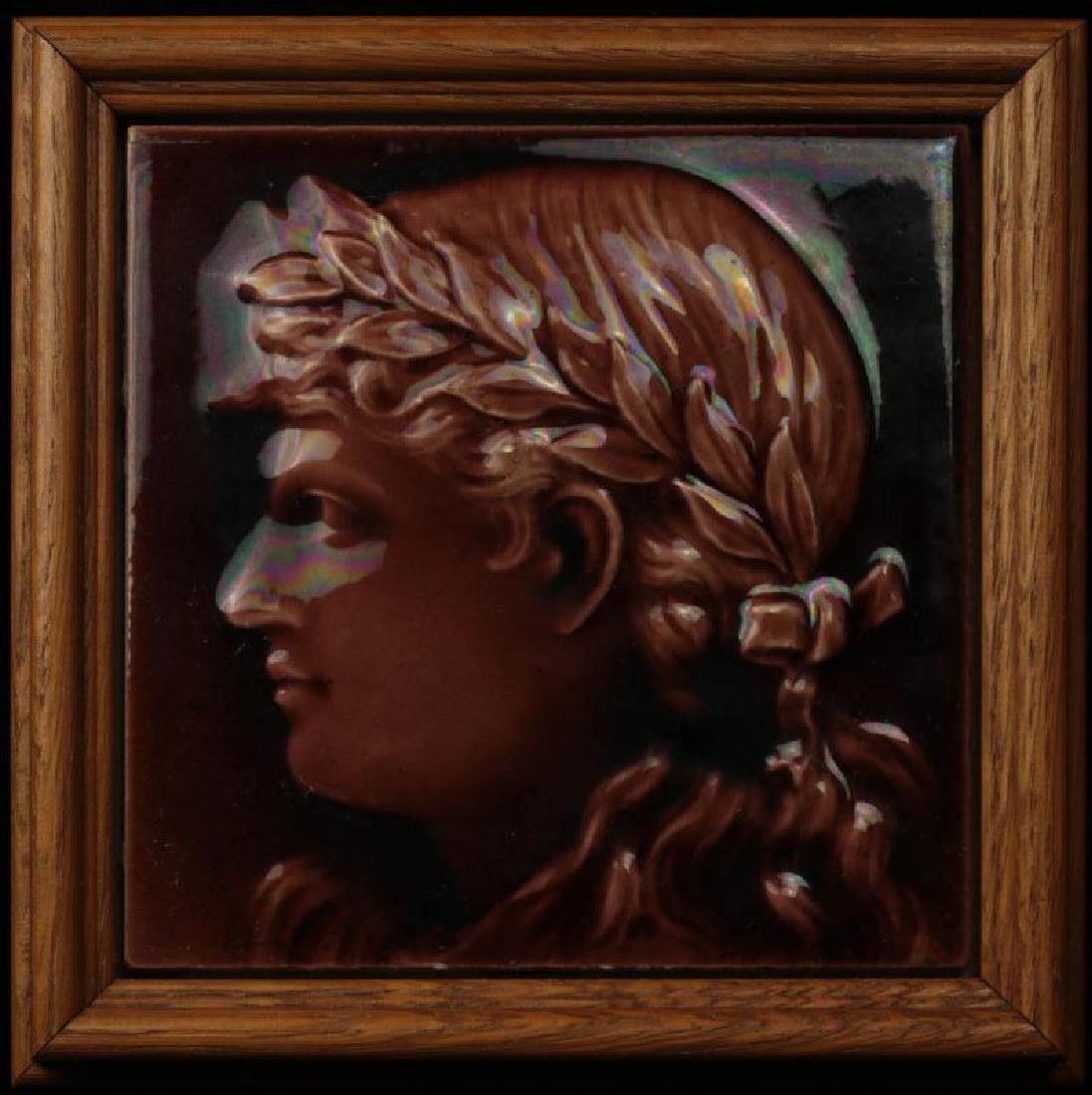 VICTORIAN ART TILE W/ EMBOSSED CLASSICAL PORTRAIT