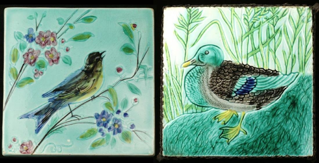 TWO AUSTRIAN MAJOLICA TILES WITH BIRDS