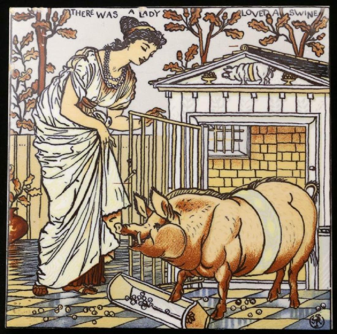 MOSAIC TILE WALTER CRANE 'WAS A LADY LOVED A SWINE