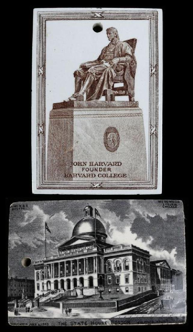 TWO CERAMIC CALENDARS DATED 1895 AND 1921