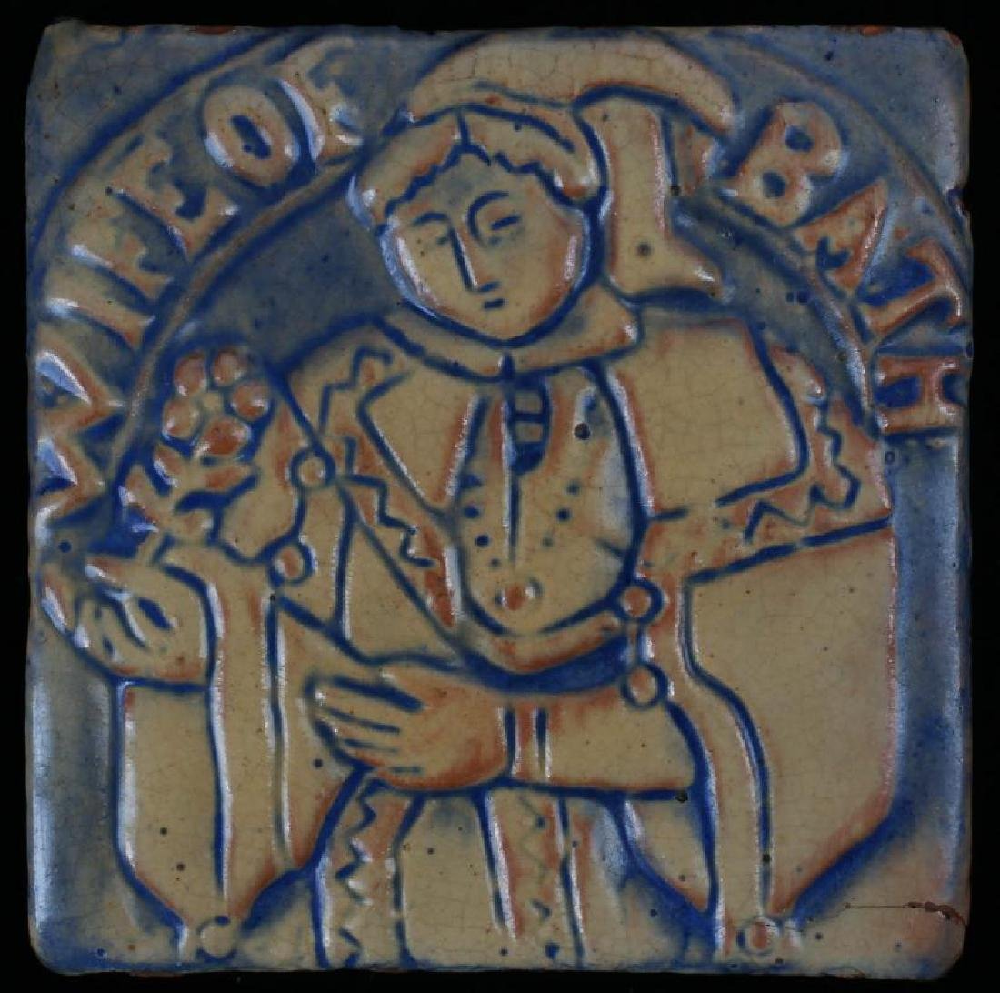 MORAVIAN TILE WORKS CANTERBURY SERIES 'WIFE OF ..'