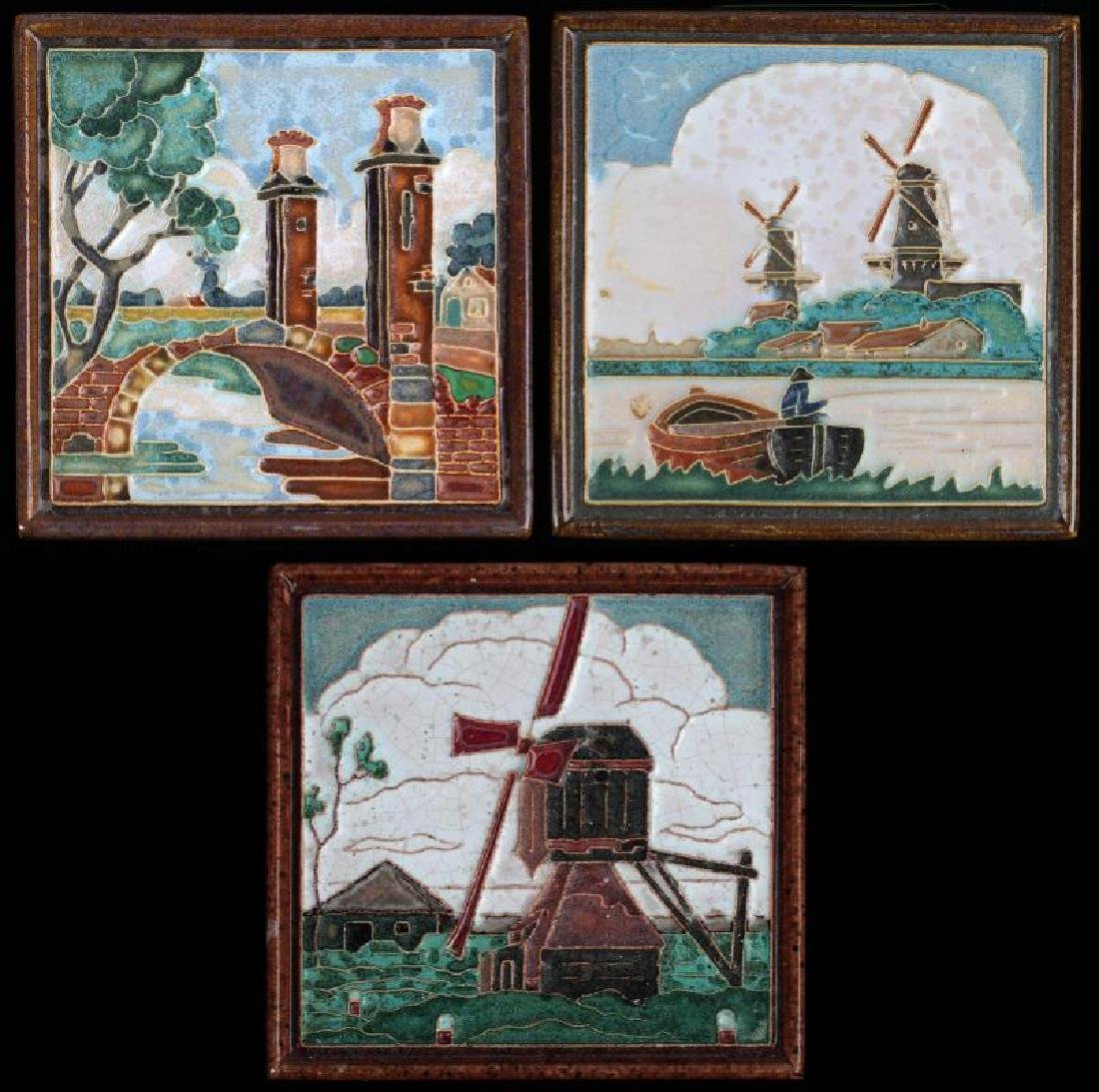 THREE POLYCHROME DELFT ART POTTERY TILES