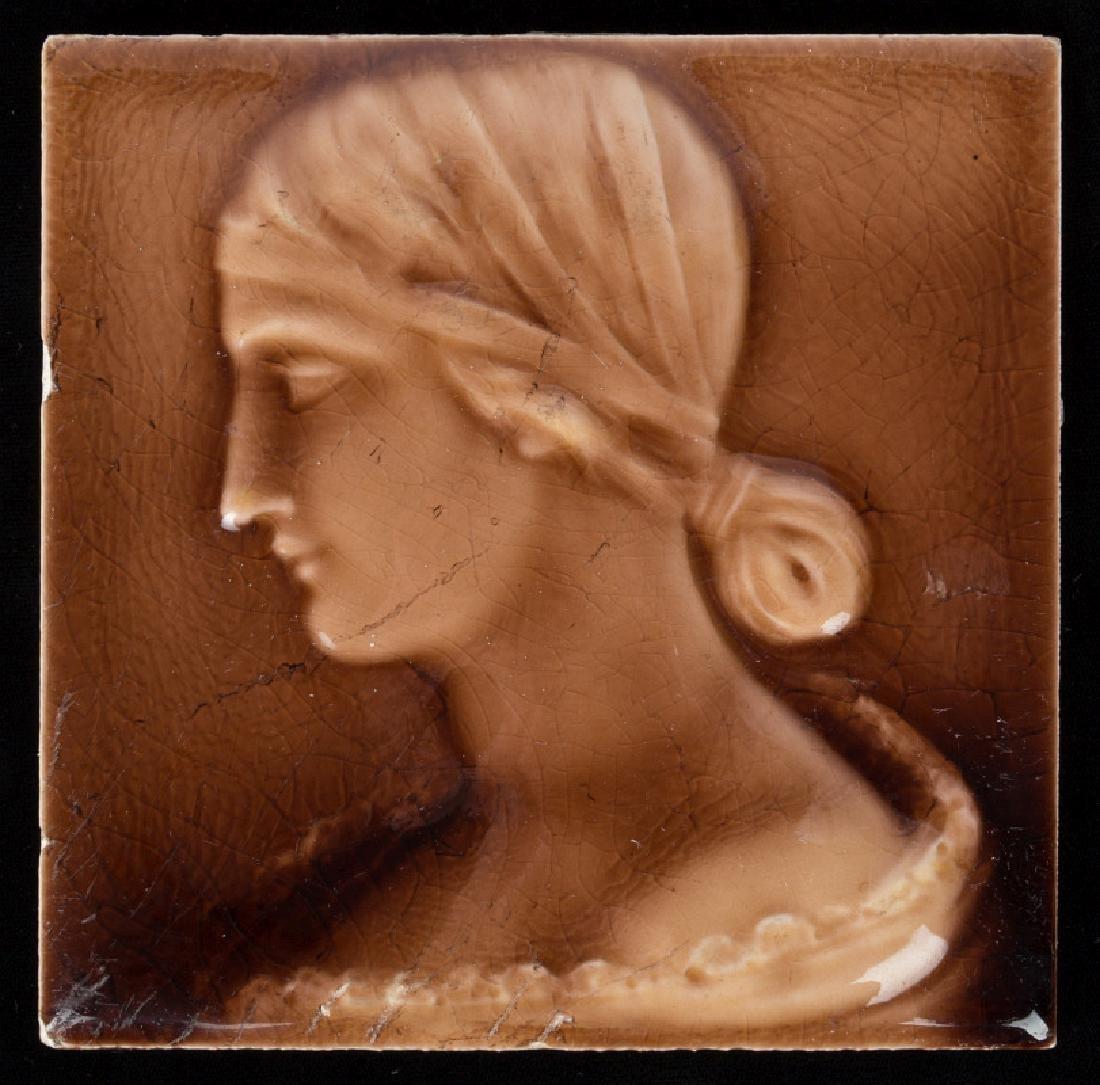 A 19TH CENTURY VICTORIAN PORTRAIT TILE