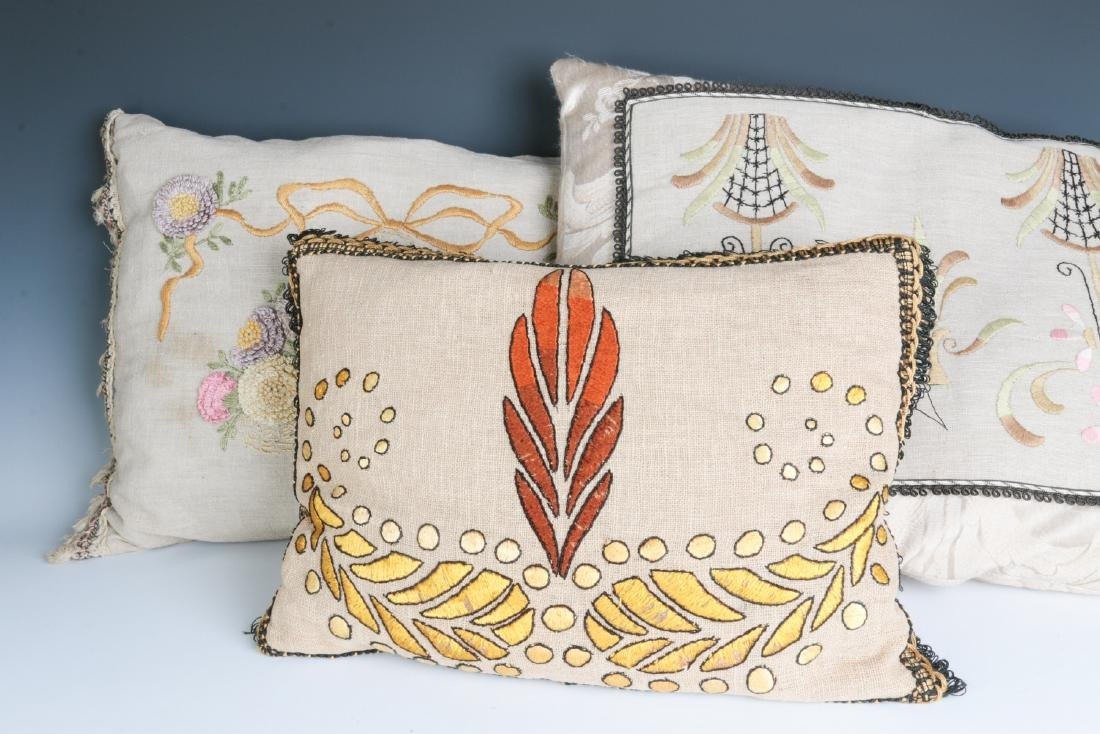 ARTS AND CRAFTS INFLUENCE LINEN PILLOWS CIRCA 1915