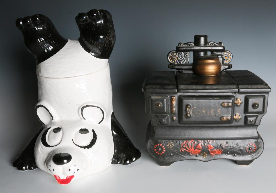 TWO VINTAGE McCOY COOKIE JARS, PANDA AND STOVE