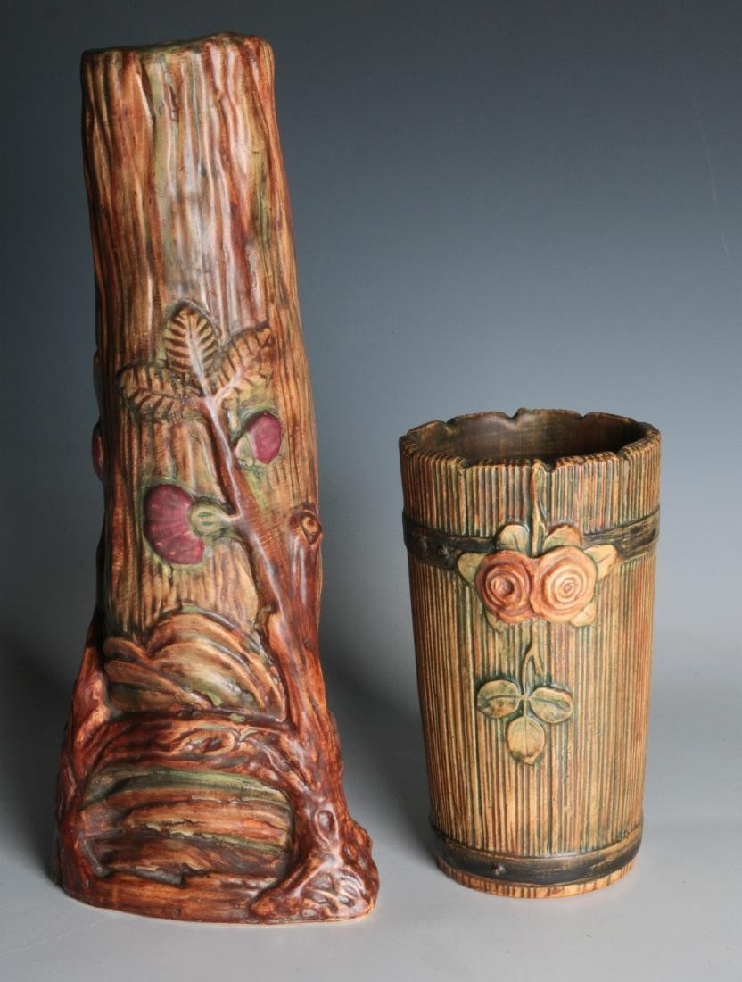 WELLER 'WARWICK' AND 'WOODROSE' ART POTTERY VASES
