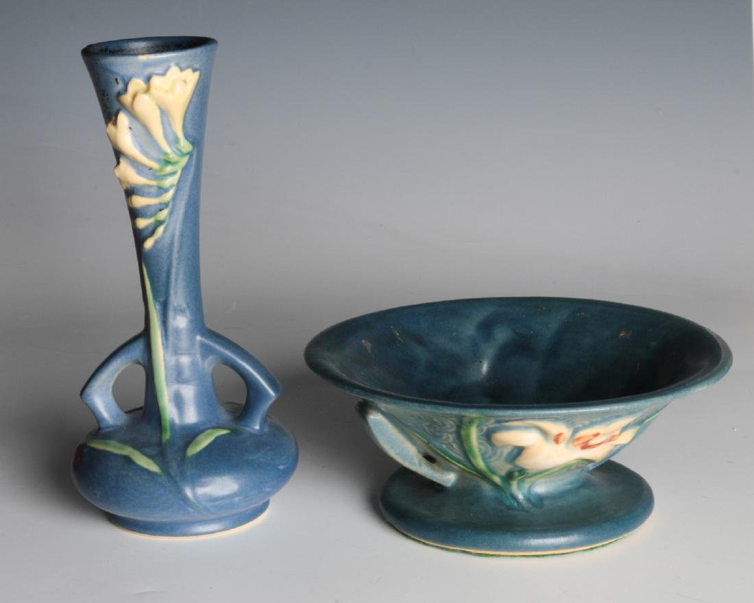 ROSEVILLE 'FREESIA' AND 'ZEPHYR LILY' ART POTTERY