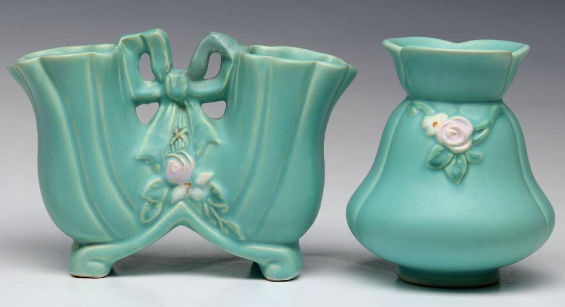 TWO WELLER 'BOUQUET' ART POTTERY VASES
