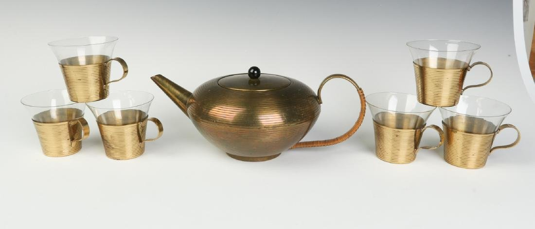 MID 20TH CENTURY SPUN BRASS TEAPOT & CUPS W/GLASS