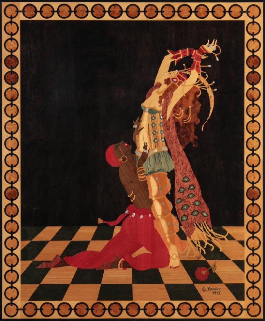 AN EXOTIC INLAID WOOD PANEL AFTER GEORGE BARBIER