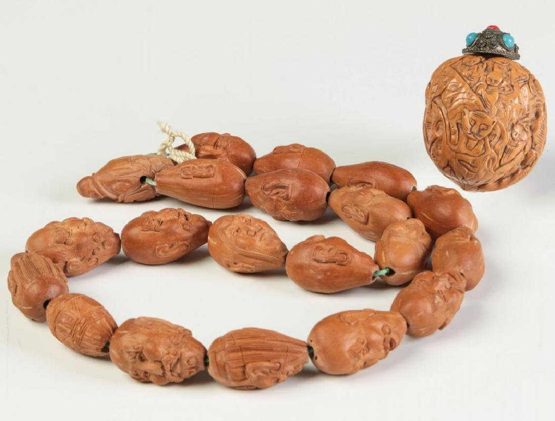CARVED CHINESE PRAYER BEADS WITH CARVED NUT SNUFF