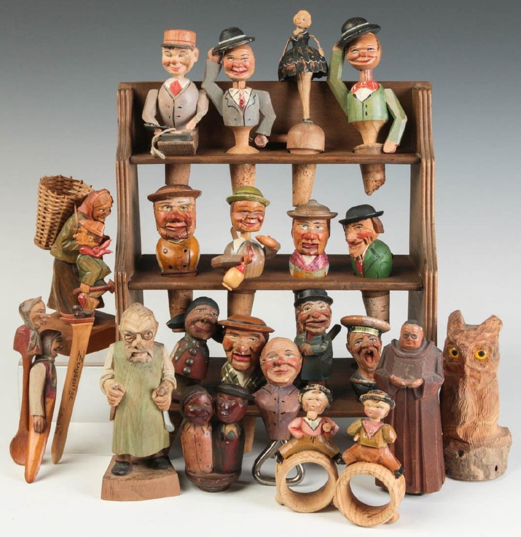 GERMAN CARVED WOOD BOTTLE STOPPERS AND FIGURES