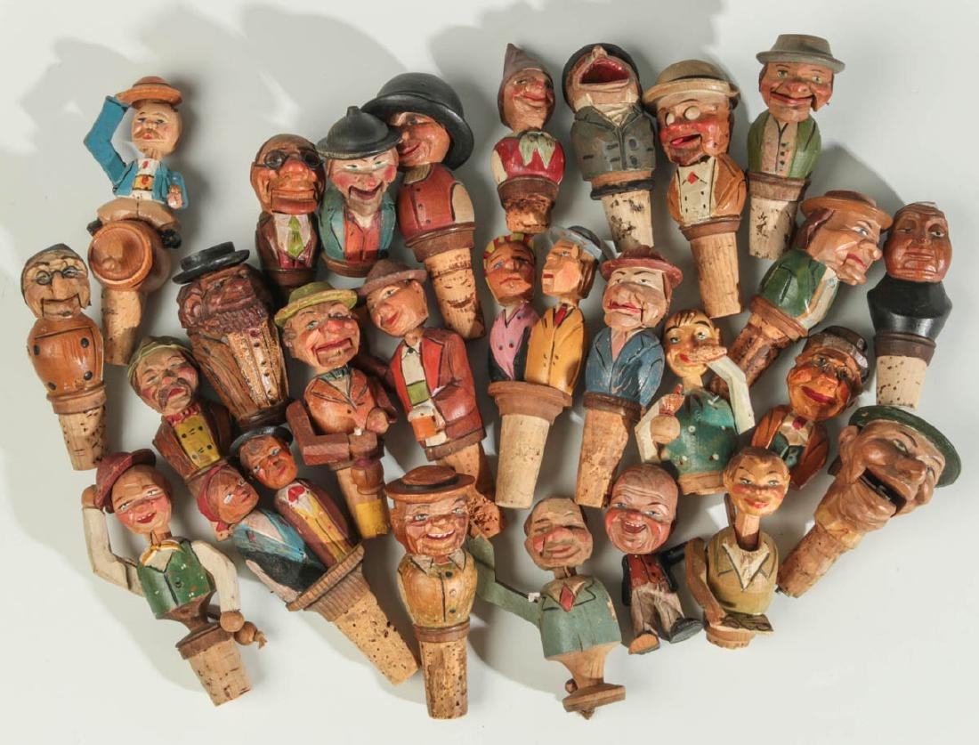 COLLECTION 26 GERMAN CARVED WOOD BOTTLE STOPPERS