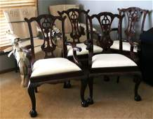 MAITLAND SMITH MAHOGANY CHIPPENDALE ARM CHAIRS