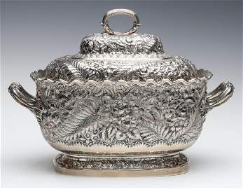 A TIFFANY & CO STERLING REPOUSSE' TUREEN C. 1881
