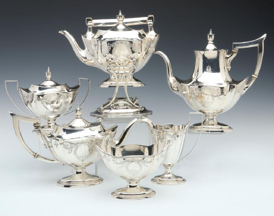 A GORHAM PLYMOUTH STERLING TEA AND COFFEE SERVICE