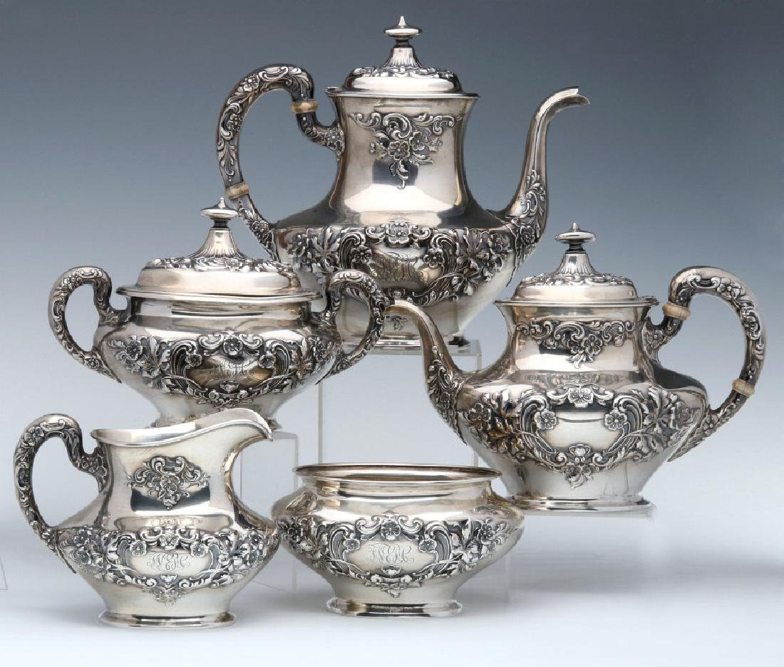 A GORHAM BUTTERCUP STERLING TEA AND COFFEE SERVICE