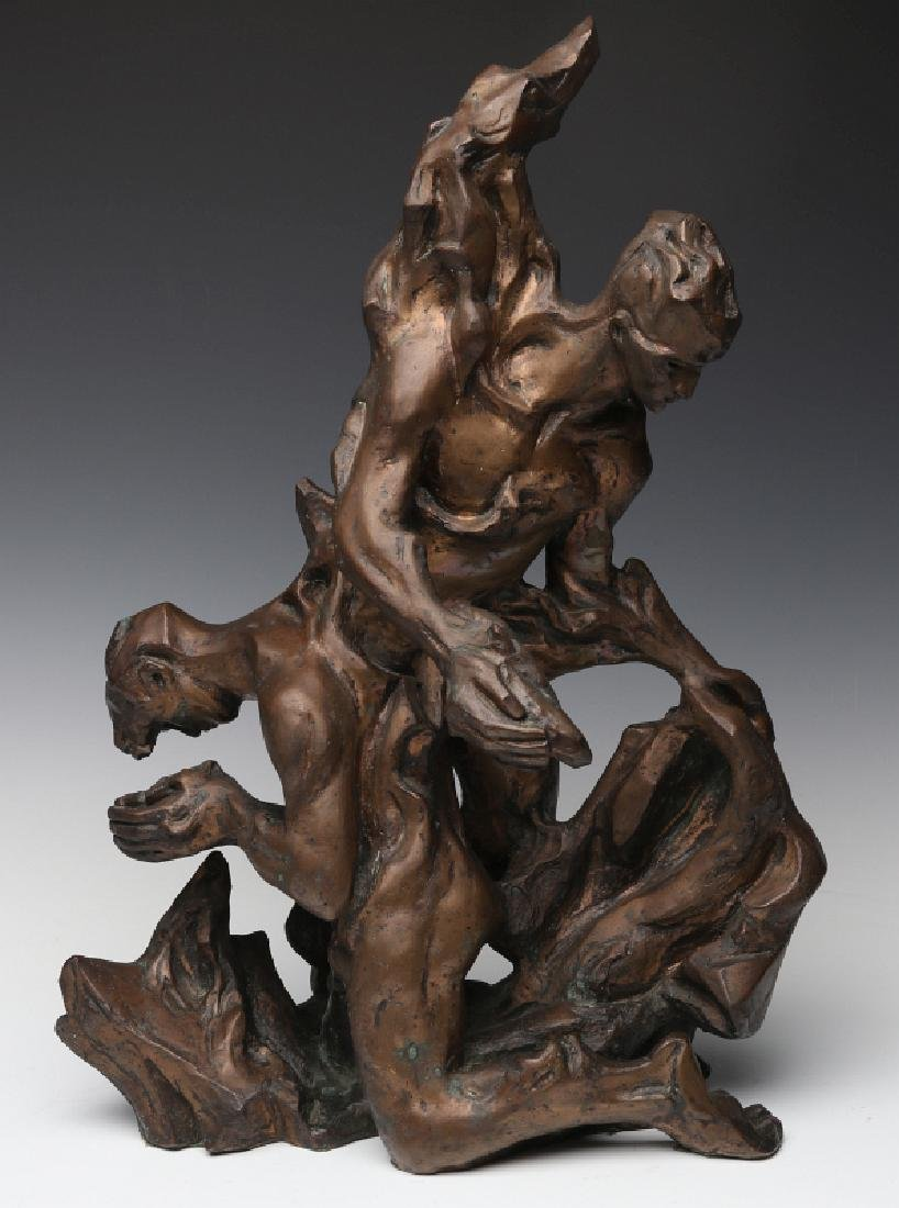 A 20TH C BRONZE ABSTRACT SCULPTURE OF MALE FIGURES